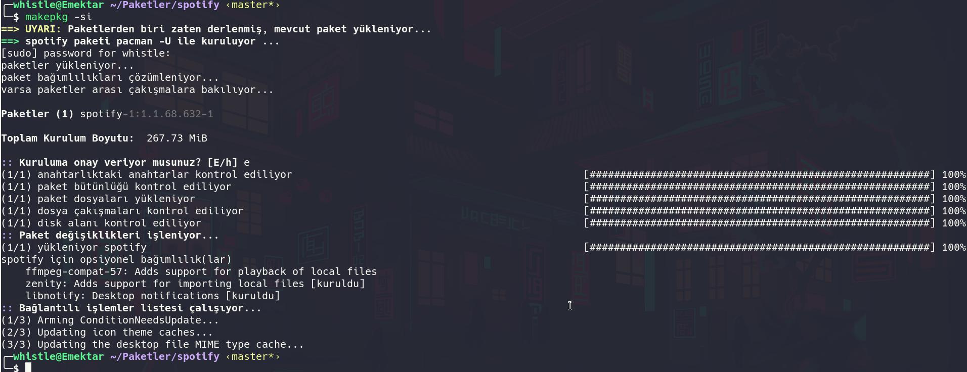 arch linux spotify kurulum hata çözüm kanıtı.png